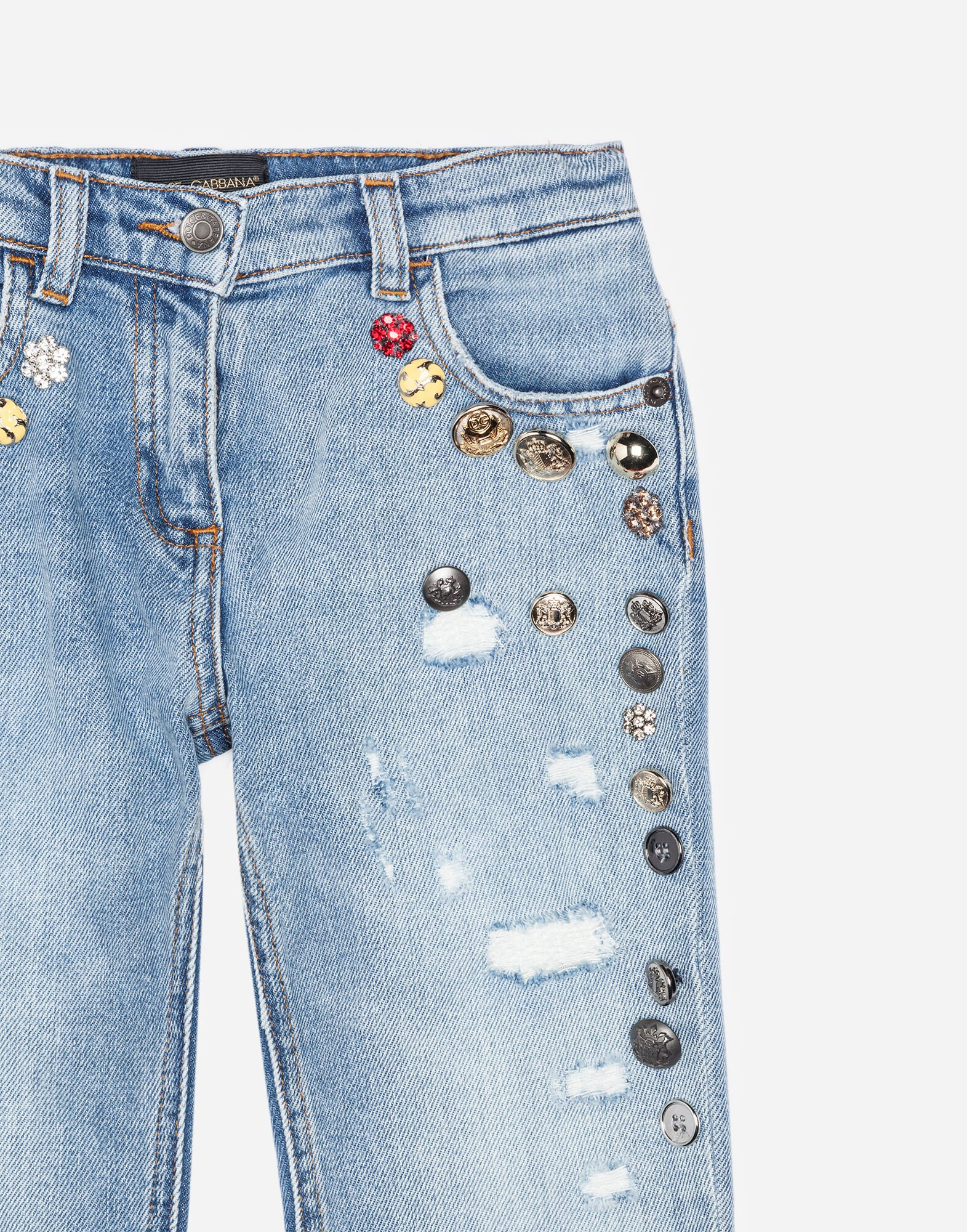 STRETCH JEANS WITH BEJEWELED APPLIQUÉ