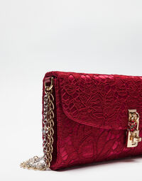 LACE DOLCE CLUTCH WITH JEWELED CHAIN