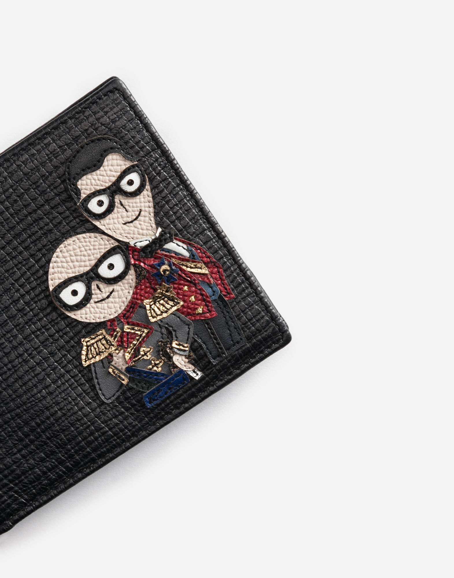 WALLET IN LEATHER WITH DESIGNERS' PATCHES