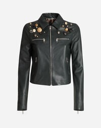 LEATHER JACKET WITH PATCH