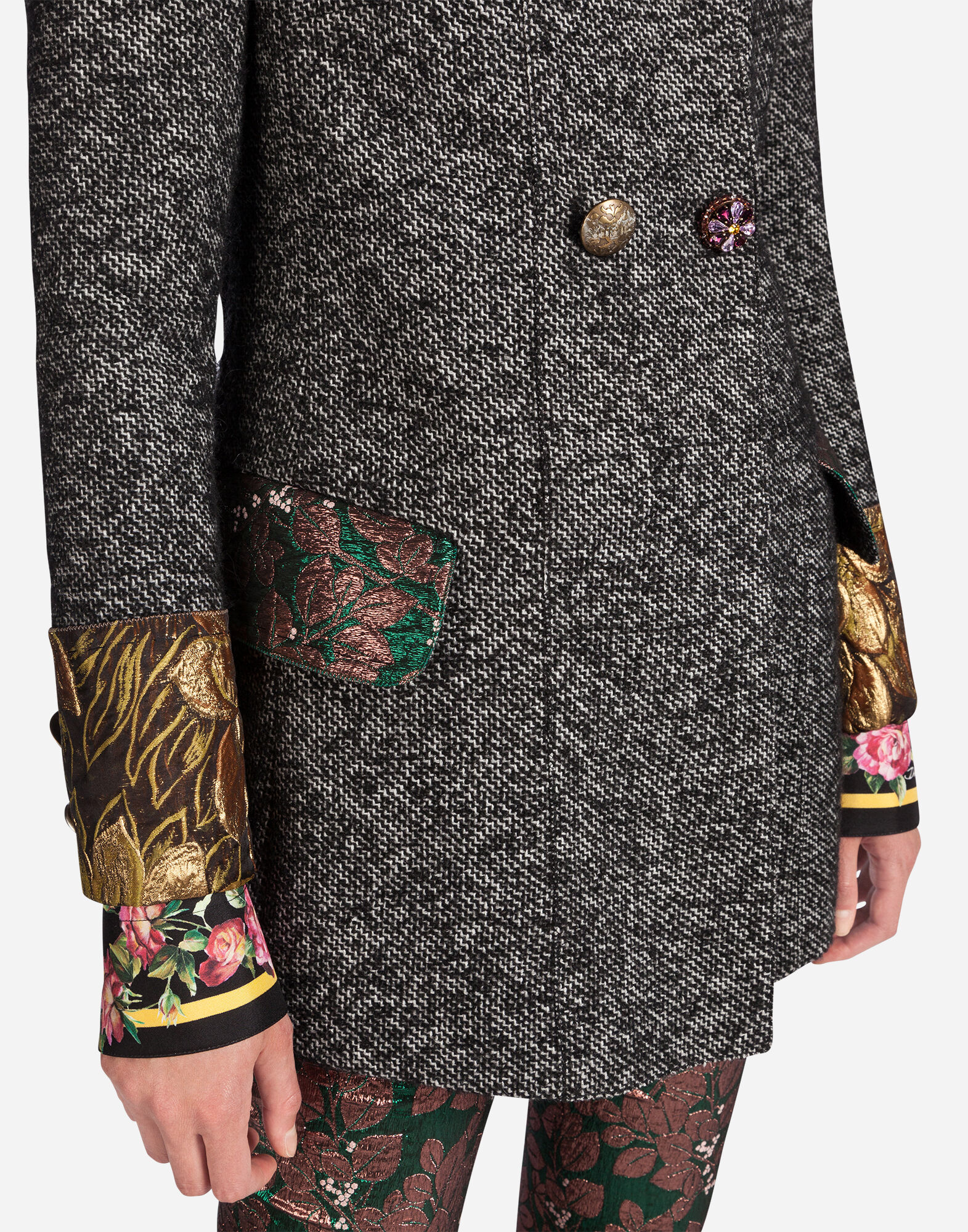 DOUBLE-BREASTED PEACOAT WITH BEJEWELED DETAILS