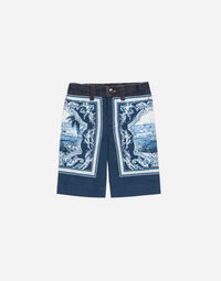 PRINTED COTTON AND DENIM BERMUDA SHORTS