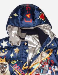 PRINTED SATIN DOWN JACKET