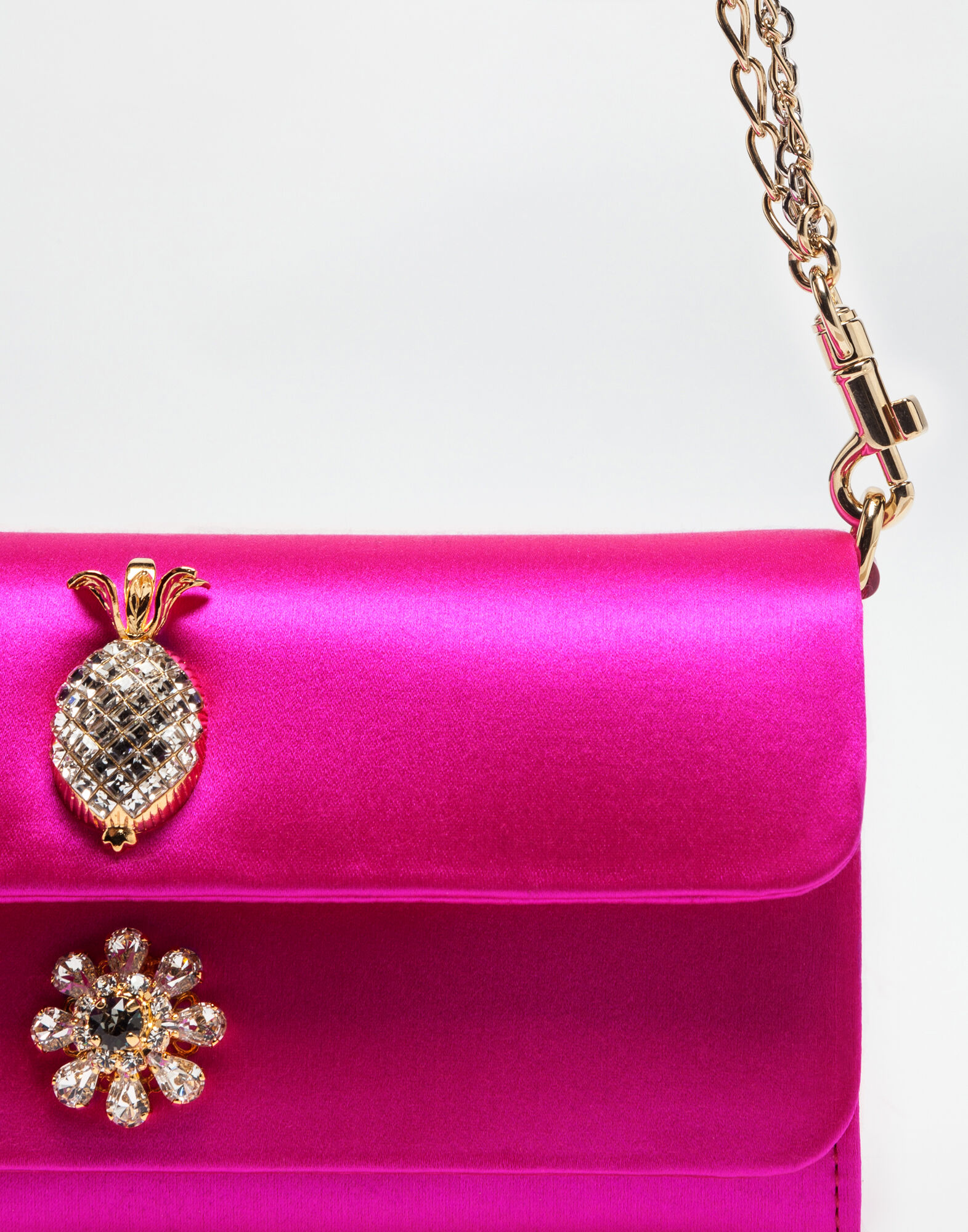 DORINE SATIN CLUTCH WITH JEWEL APPLICATIONS