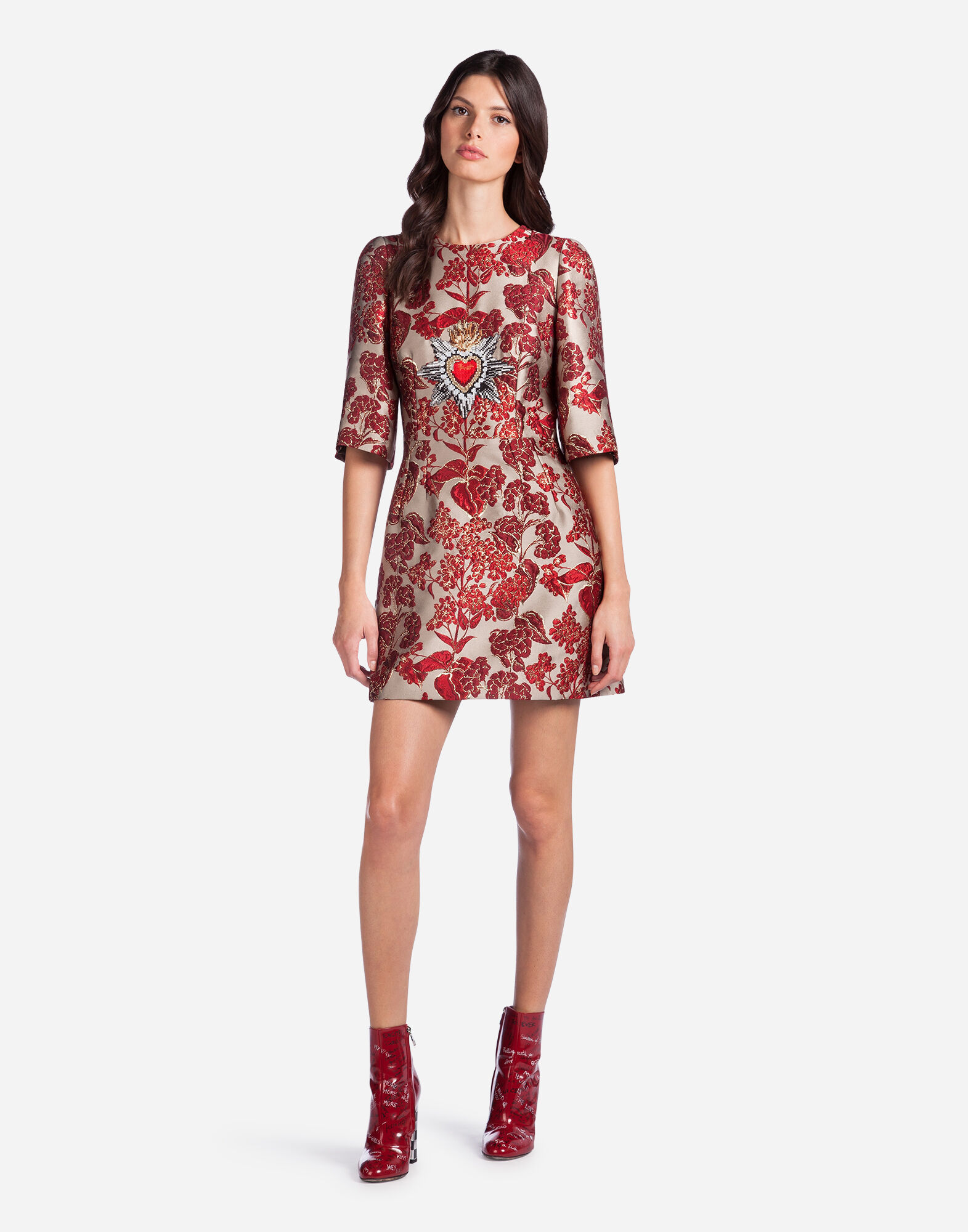 DRESS IN LUREX JACQUARD WITH PATCHES