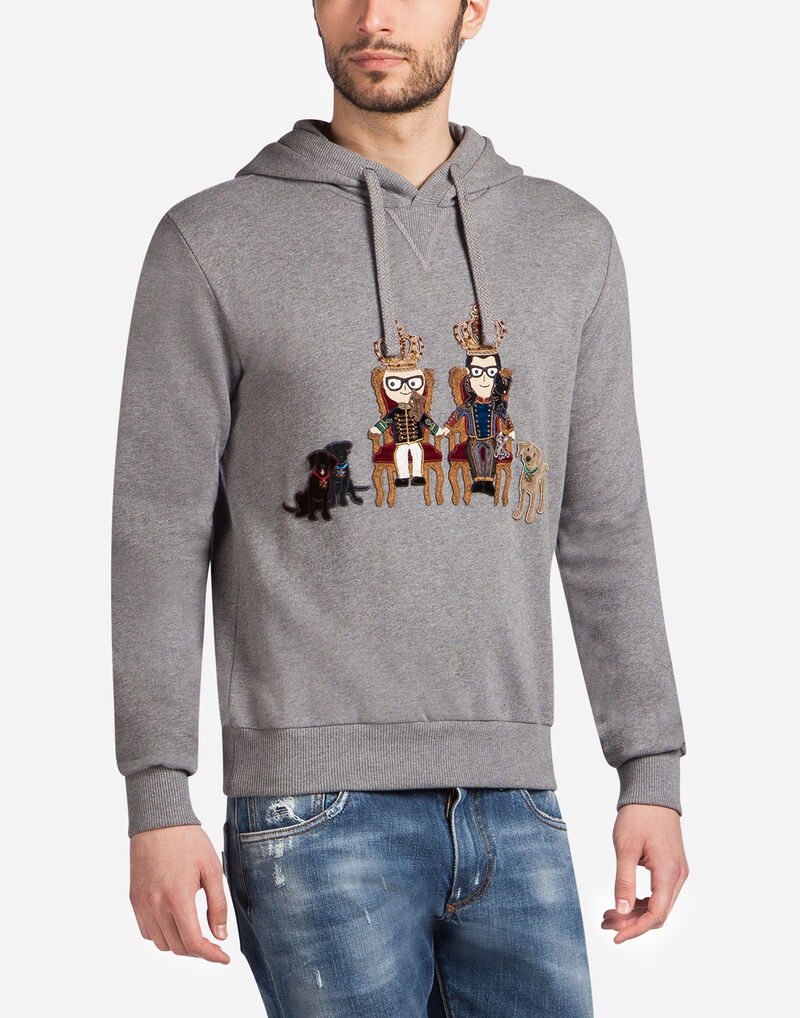 COTTON SWEATSHIRT WITH DESIGNER PATCHES AND HOOD