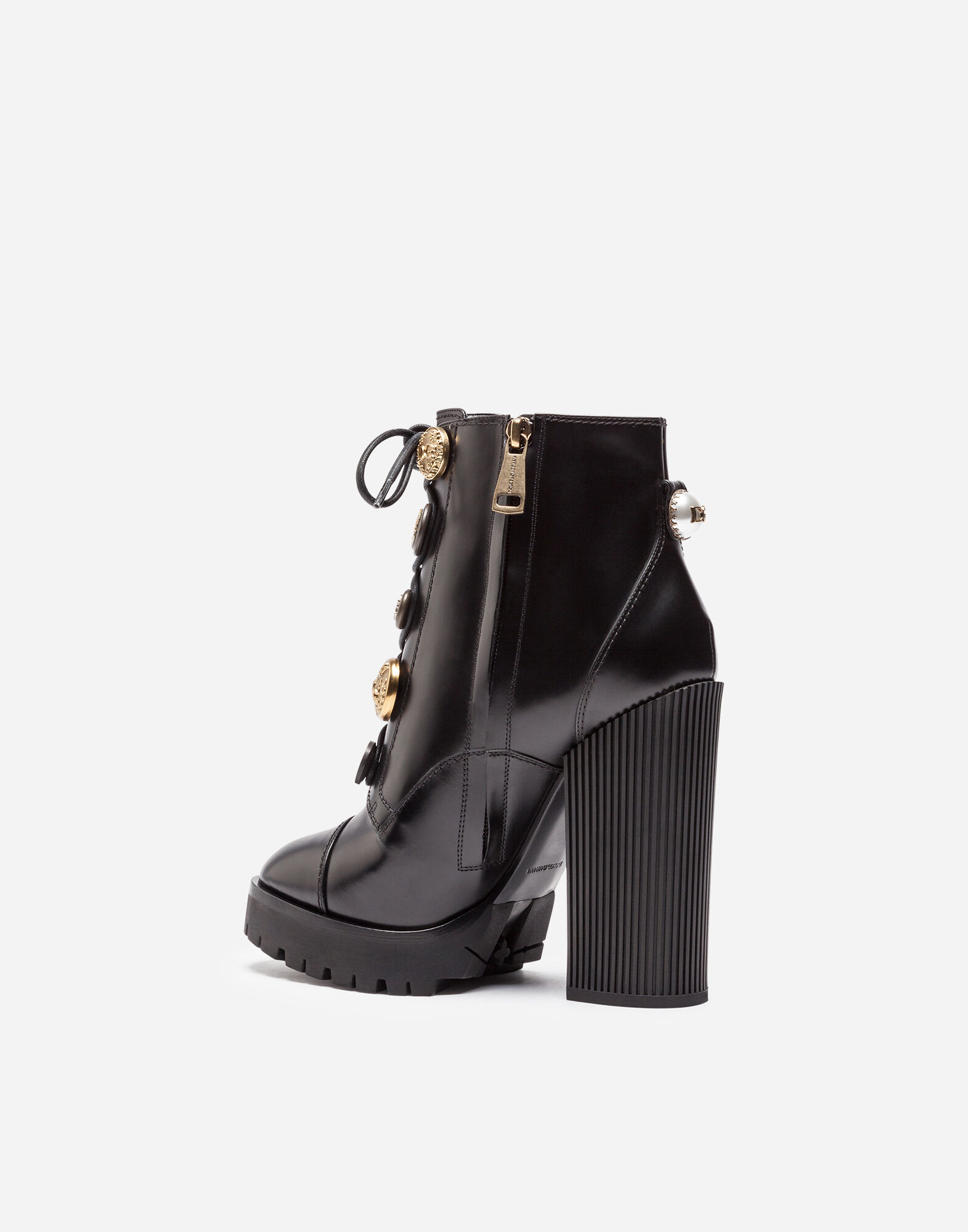 LEATHER ANKLE BOOTS WITH APPLIQUÉ