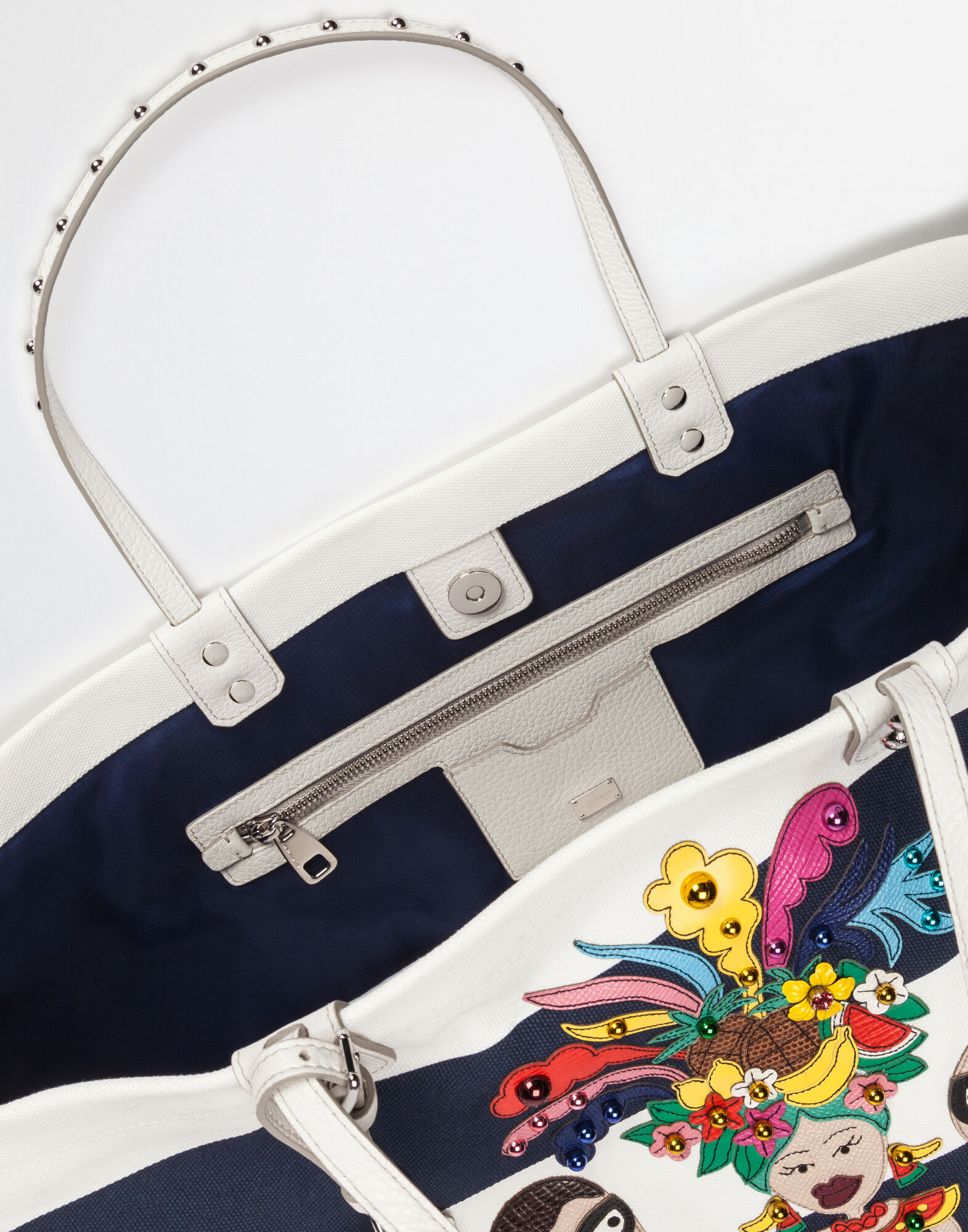 PRINTED BEATRICE CANVAS BAG WITH DESIGNERS PATCH