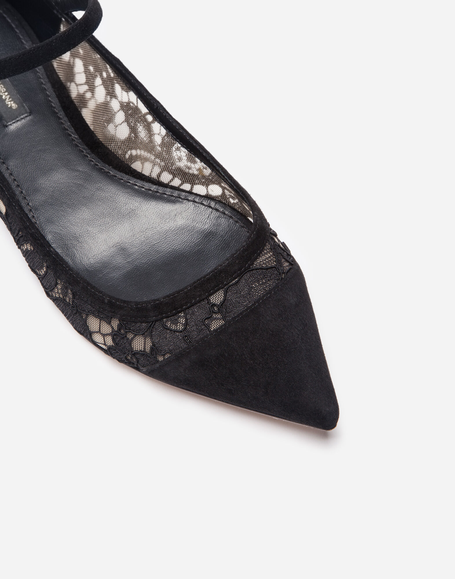 SUEDE AND LACE BALLET FLATS
