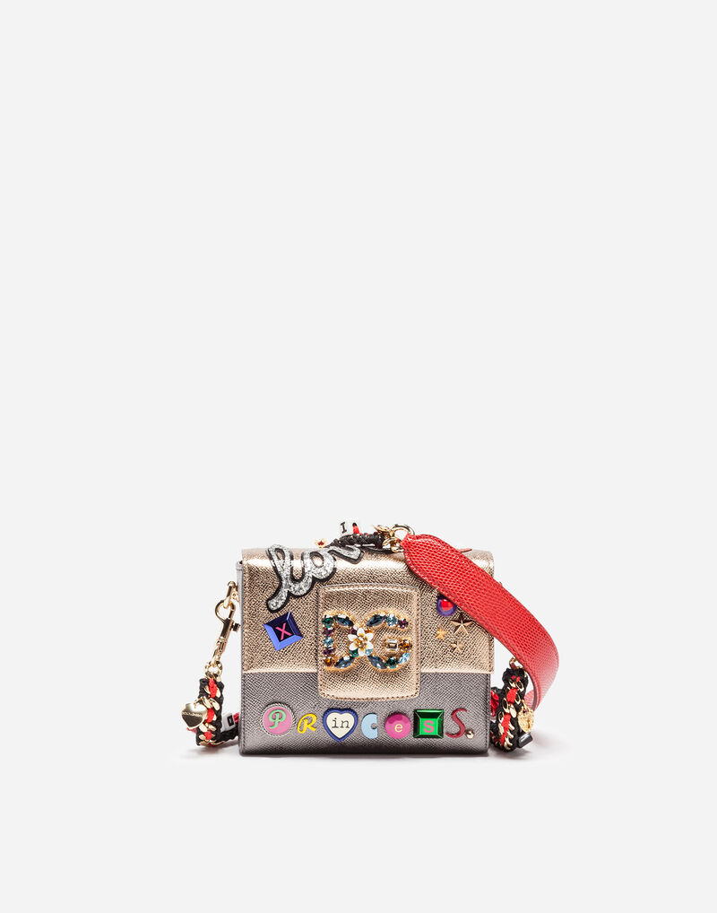 LEATHER DG MILLENNIALS BAG WITH BEJEWELED STRAP