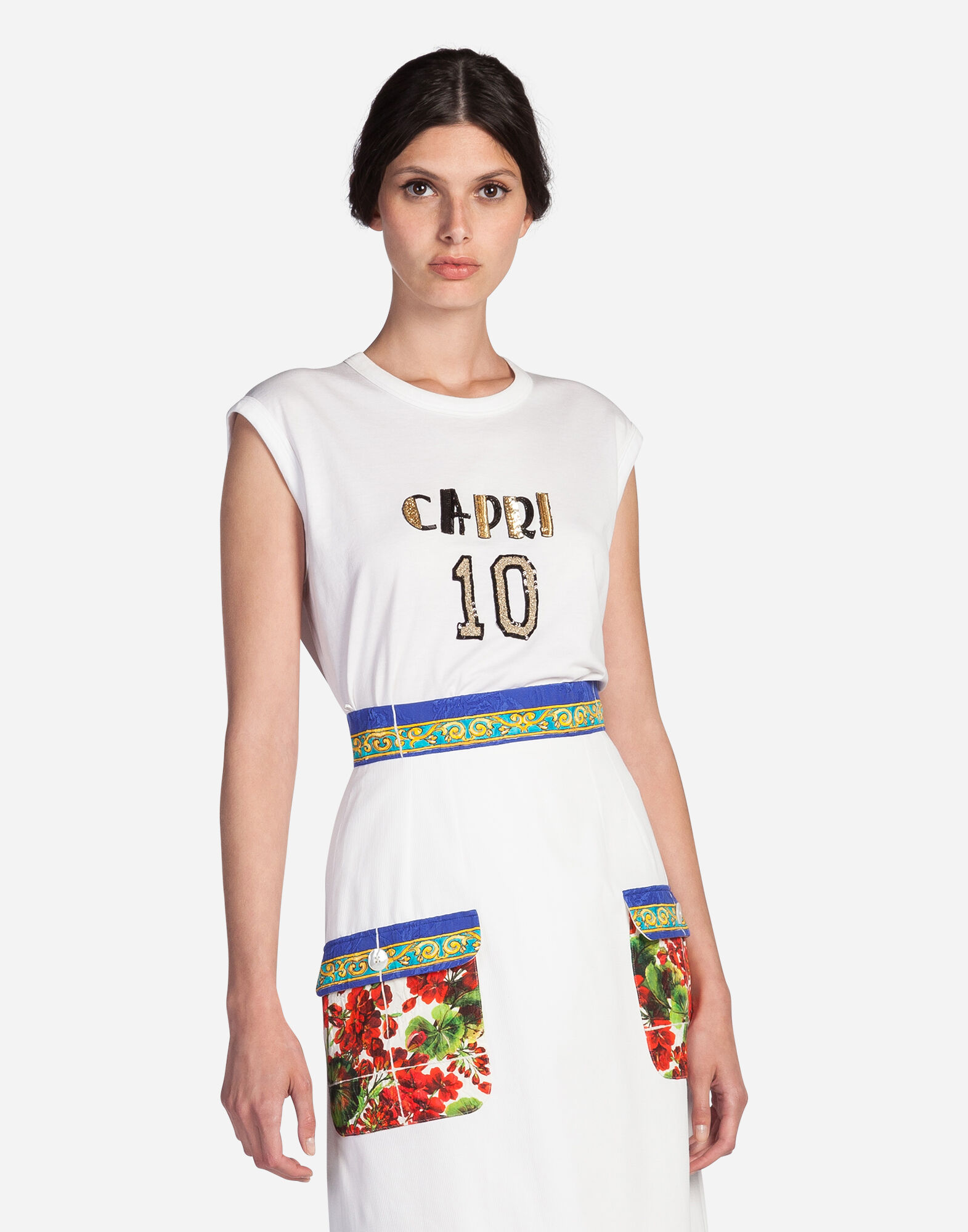 Dolce&Gabbana SLEEVELESS T-SHIRT IN COTTON WITH PATCH