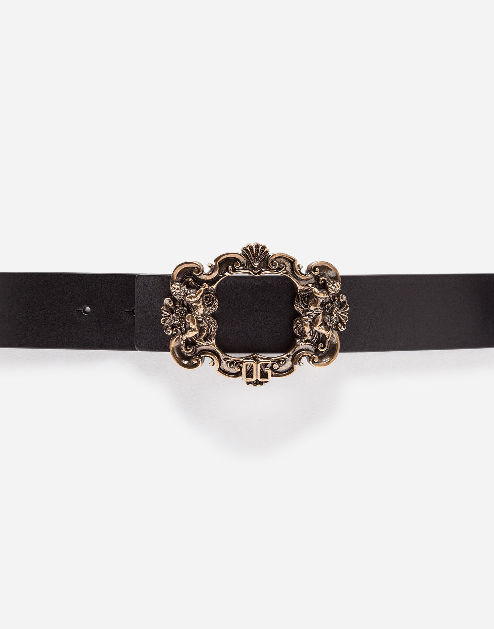 LEATHER BELT WITH BAROQUE BUCKLE