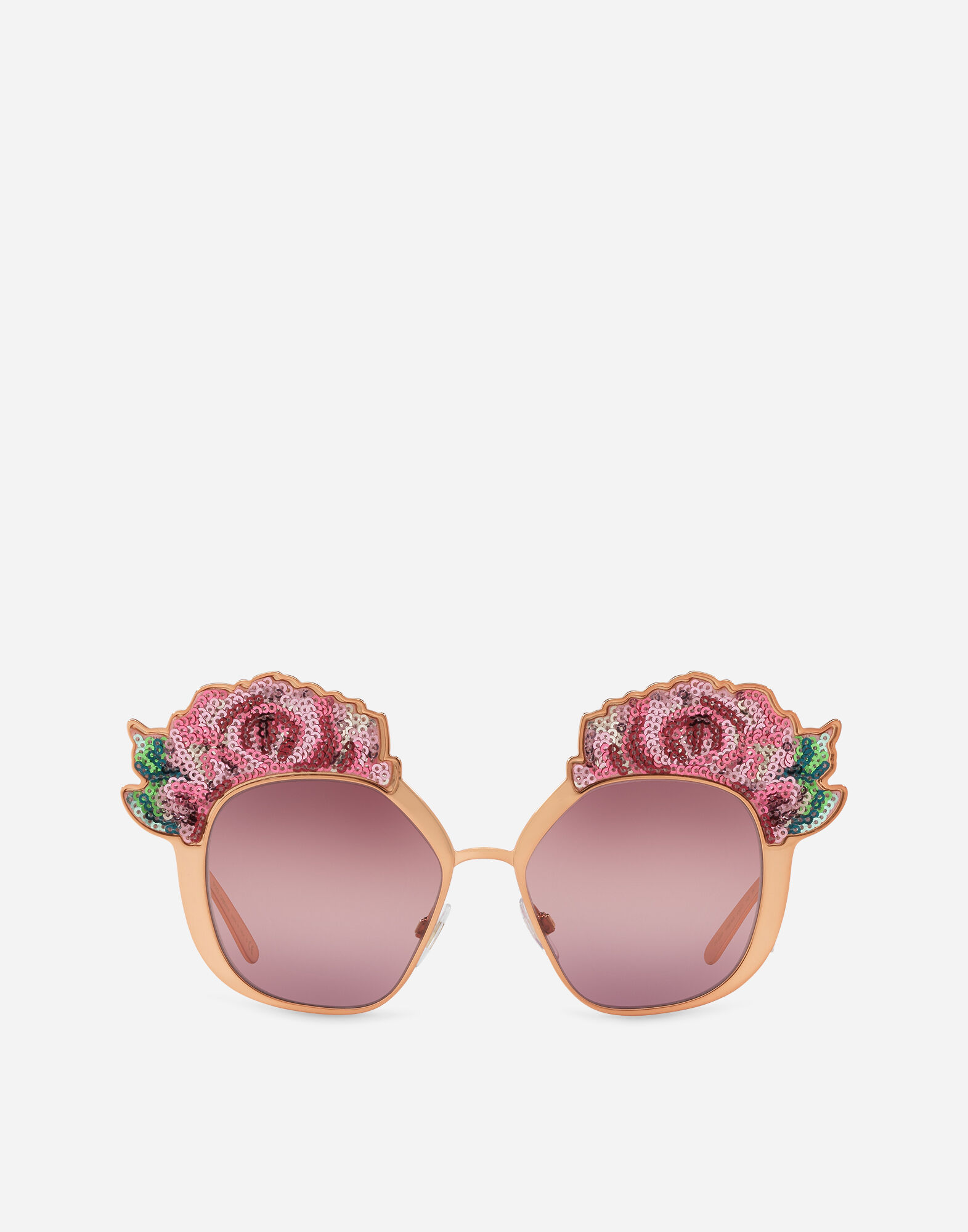 SUNGLASSES WITH ROSE EMBROIDERED METAL FRAMES
