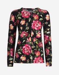 ROUND NECK SWEATER IN PRINTED CASHMERE