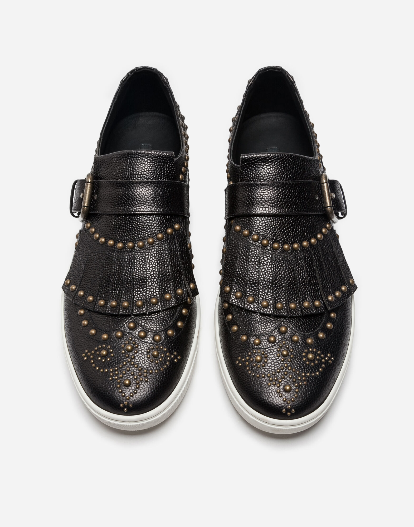 LEATHER LONDON SLIP-ON SNEAKERS WITH STUDS