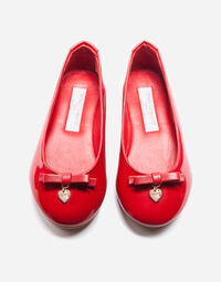 PATENT LEATHER BALLET FLATS WITH BOW DETAIL