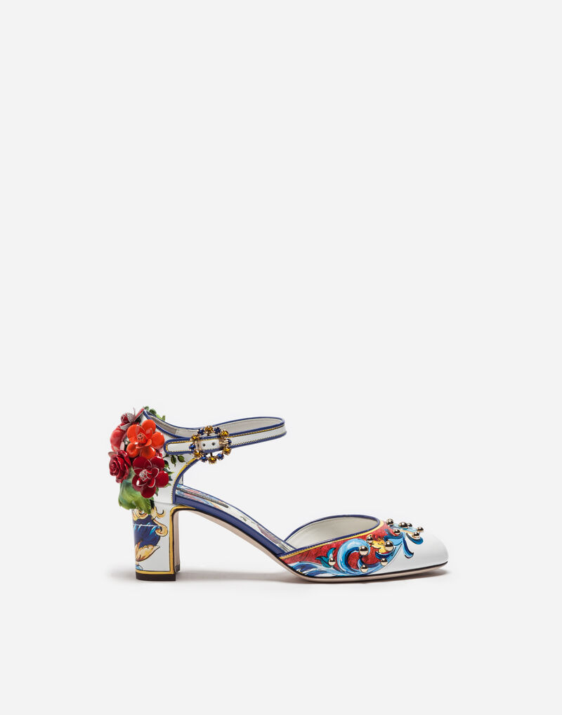 PRINTED LEATHER MARY JANES WITH APPLIQUÉ
