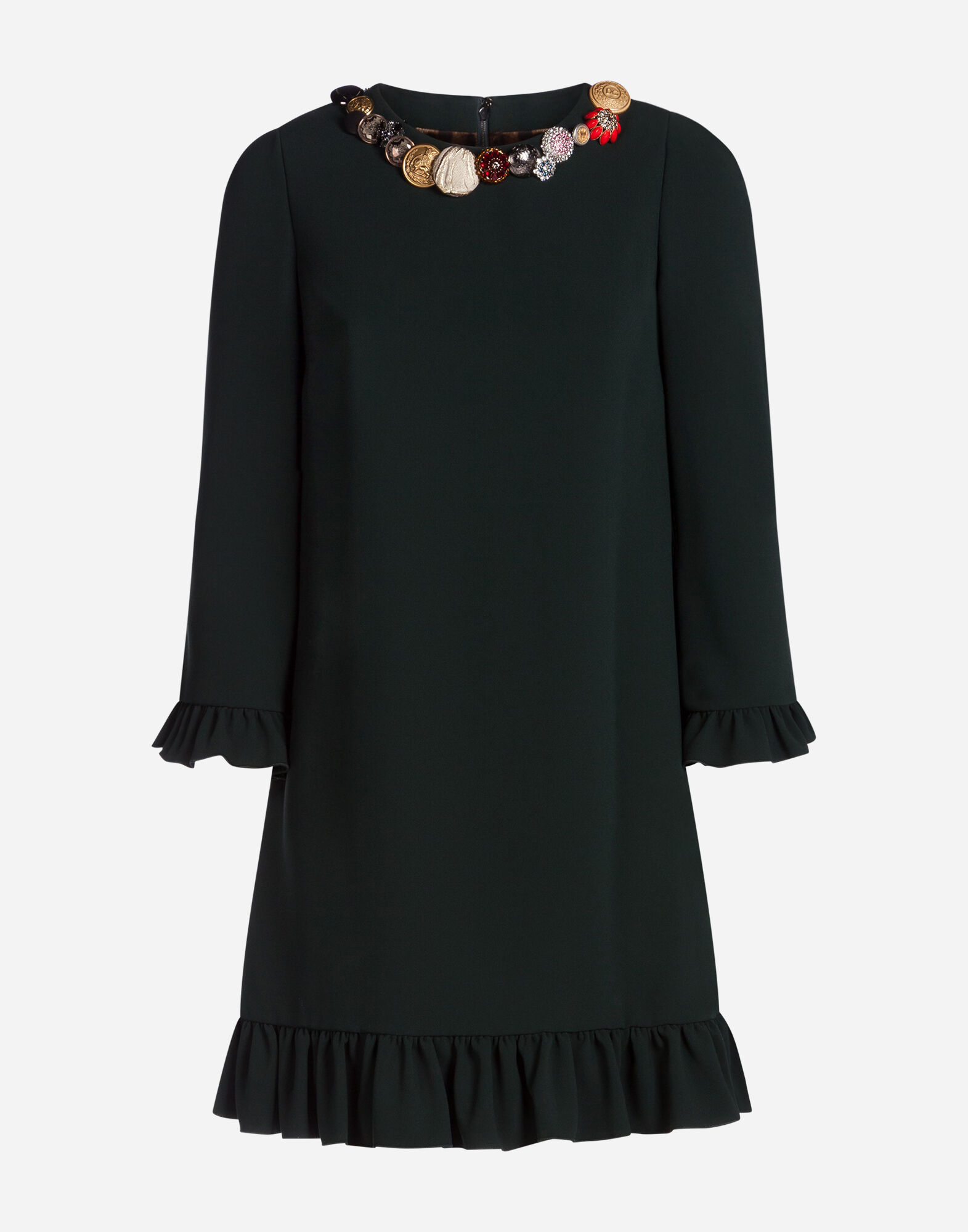 CADY DRESS WITH BEJEWELED BUTTONS