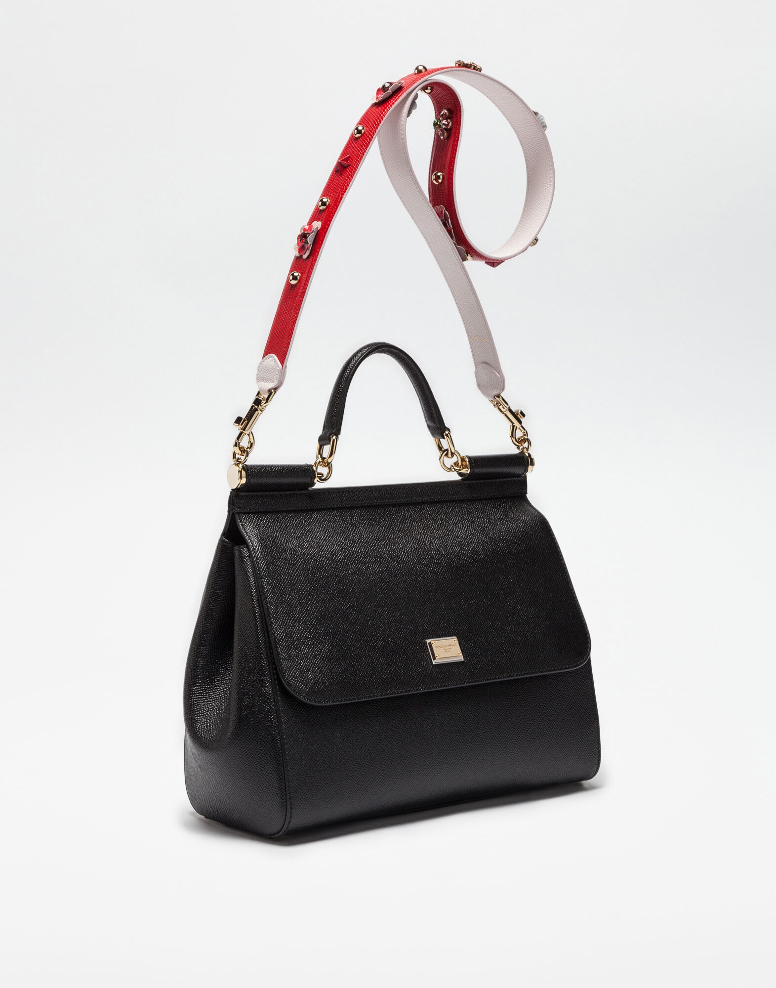SHOULDER BAG IN DAUPHINE LEATHER WITH APPLICATIONS