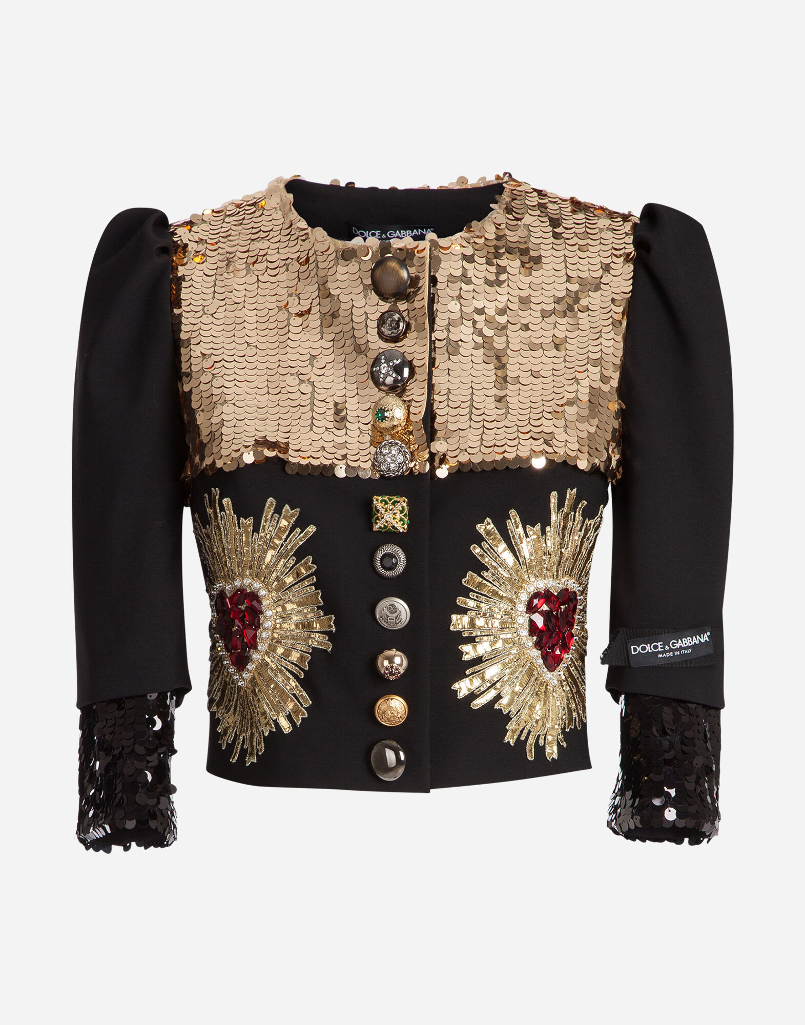 SHORT WOOL JACKET WITH SEQUINS AND PATCHES