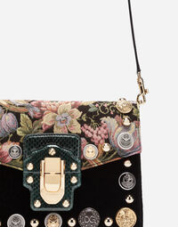 LUCIA SHOULDER BAG IN A MIXTURE OF MATERIALS WITH APPLIQUÉ DETAILS