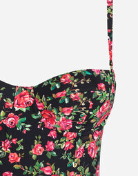 PRINTED BALCONETTE ONE-PIECE SWIMSUIT