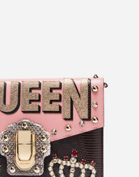 Dolce&Gabbana LUCIA SHOULDER BAG IN A MIXTURE OF LEATHERS WITH APPLIQUÉ DETAILS