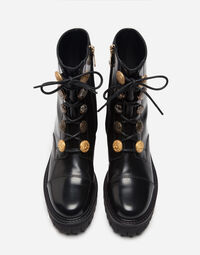 LEATHER BIKER BOOTS WITH APPLIQUÉ