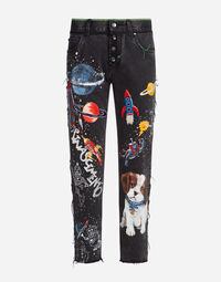 PRINTED DENIM JEANS