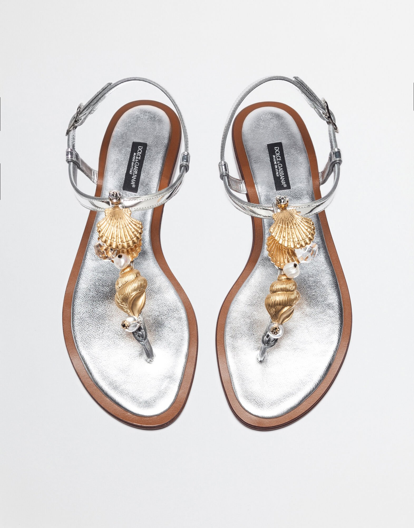 THONG SANDALS IN LAMINATED LEATHER WITH APPLICATIONS