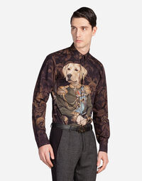 Dolce&Gabbana GOLD FIT SHIRT IN PRINTED COTTON