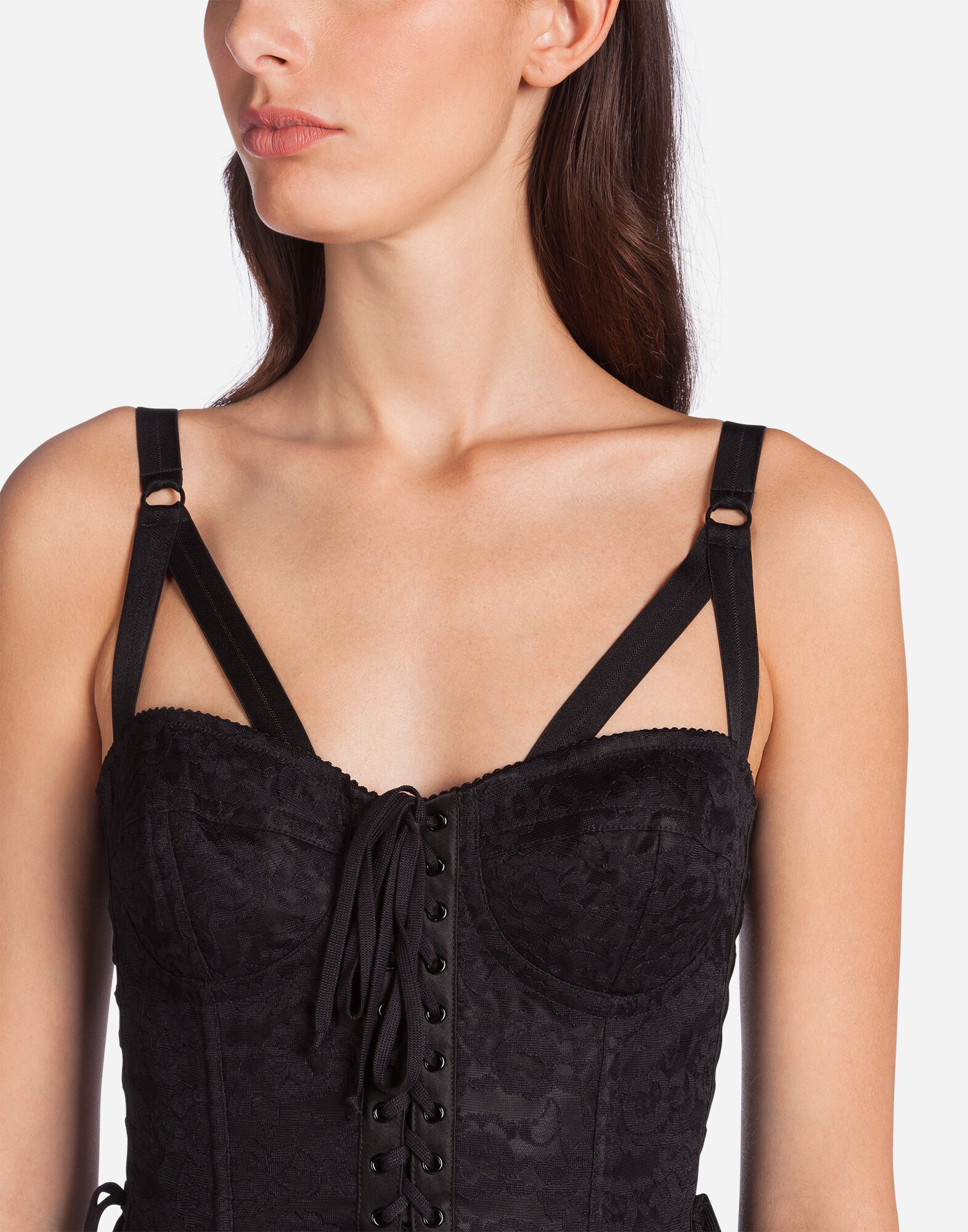 BUSTIER TOP WITH LACE DETAILS
