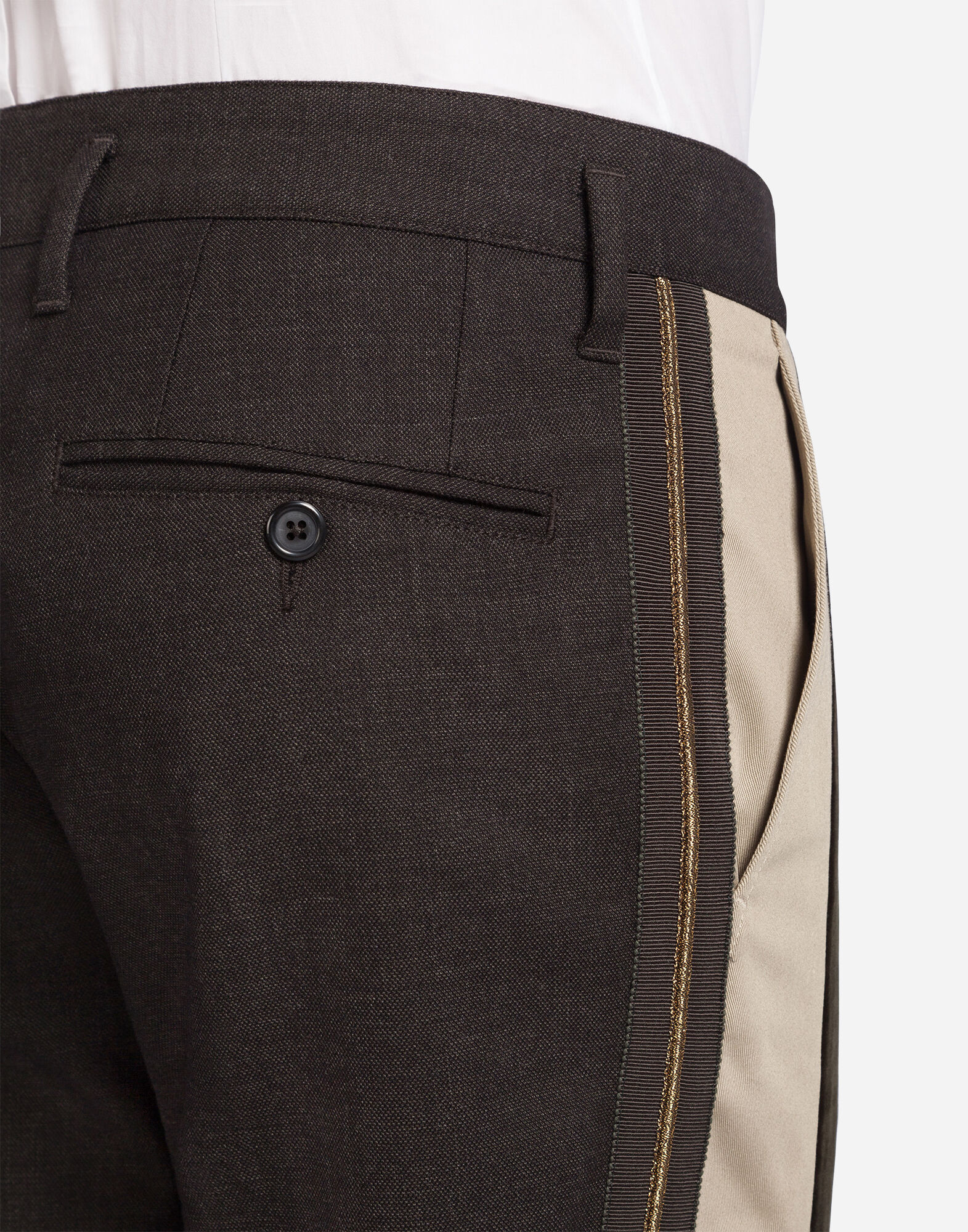 WOOLEN TROUSERS WITH CONTRASTING BAND