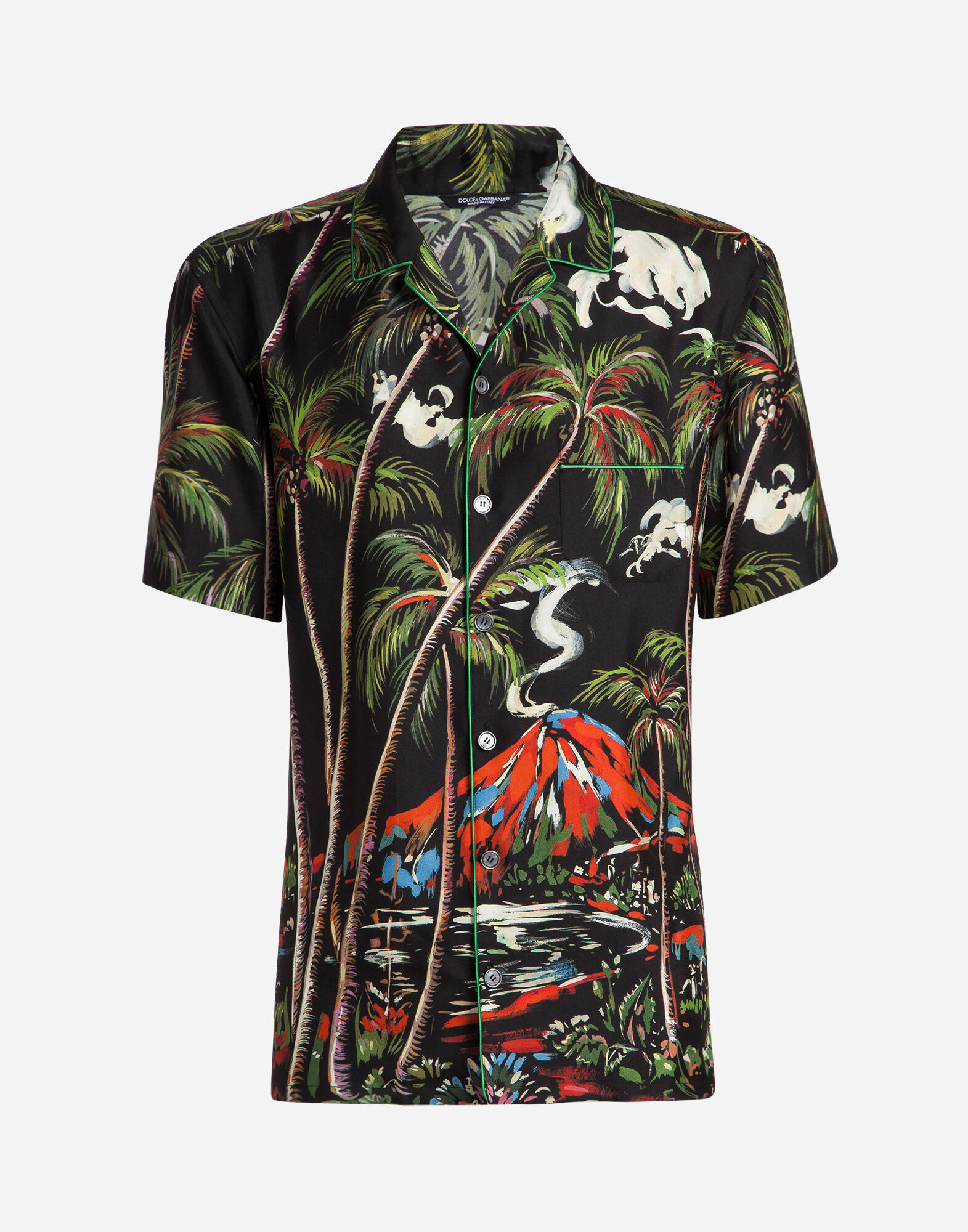 PAJAMA SHIRT IN PRINTED SILK