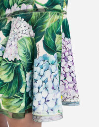 PENCIL SKIRT IN PRINTED CADY WITH FLOUNCE