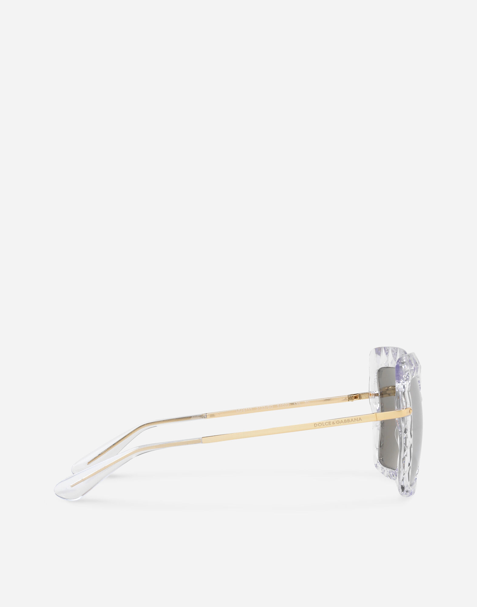 SQUARE SUNGLASSES IN TRANSPARENT ACETATE