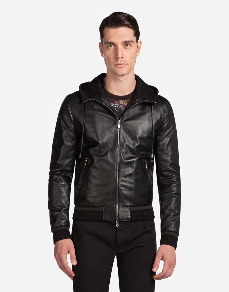 Lambskin Bomber Jacket With Hood - Men | Dolce&Gabbana
