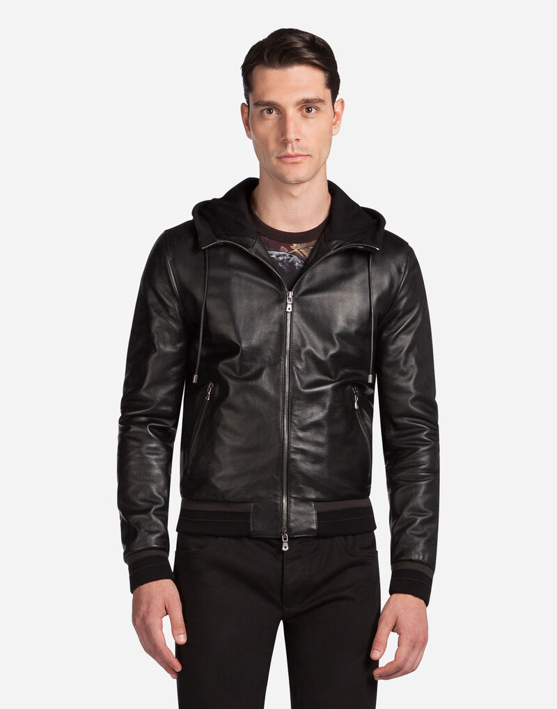 Lambskin Bomber Jacket With Hood - Men   Dolce&Gabbana