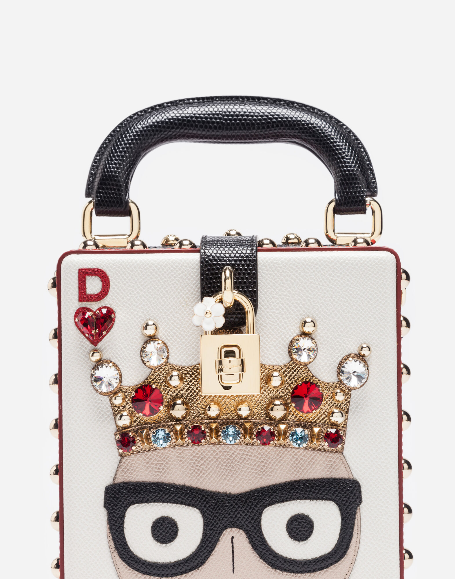 Dolce&Gabbana DOLCE BOX BAG WITH PATCHES OF THE DESIGNERS