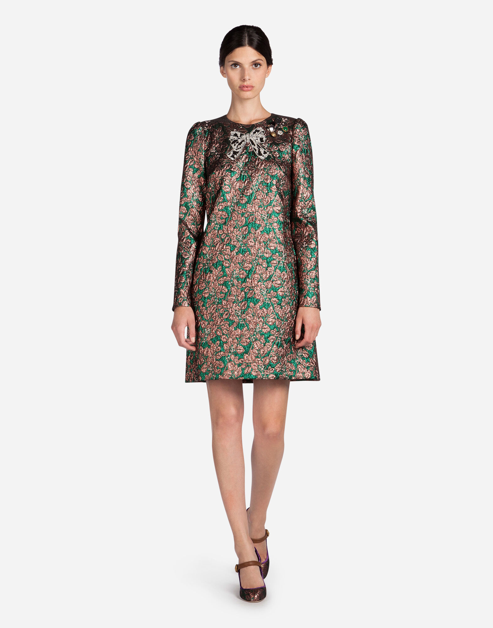 LUREX JACQUARD DRESS WITH PATCH
