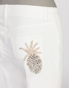 PRETTY FIT JEANS IN STRETCH DENIM WITH JEWEL EMBROIDERY