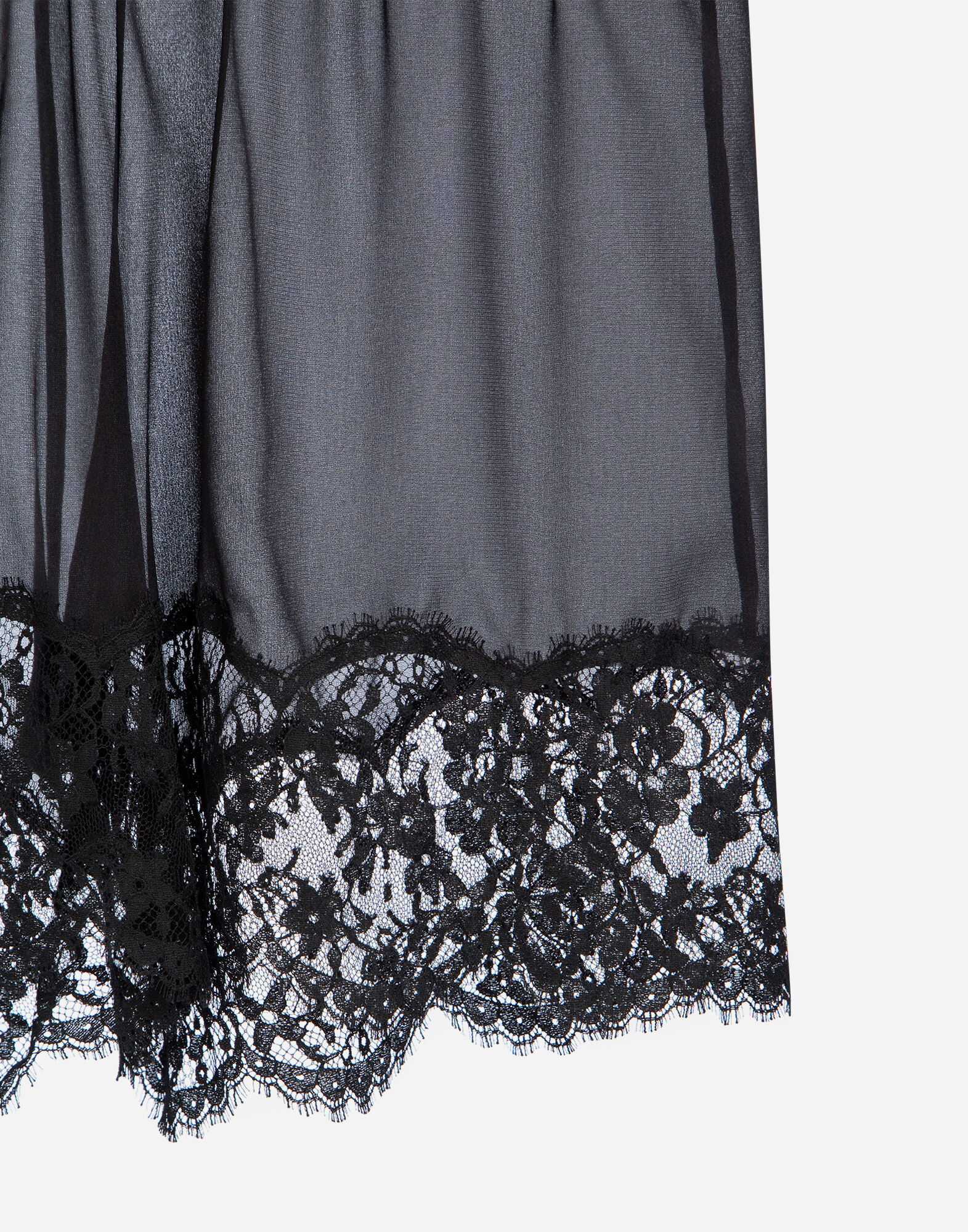 Dolce&Gabbana SILK LINGERIE SHORTS WITH LACE TRIM