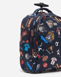 PRINTED NYLON TROLLEY SUITCASE WITH PATCHES