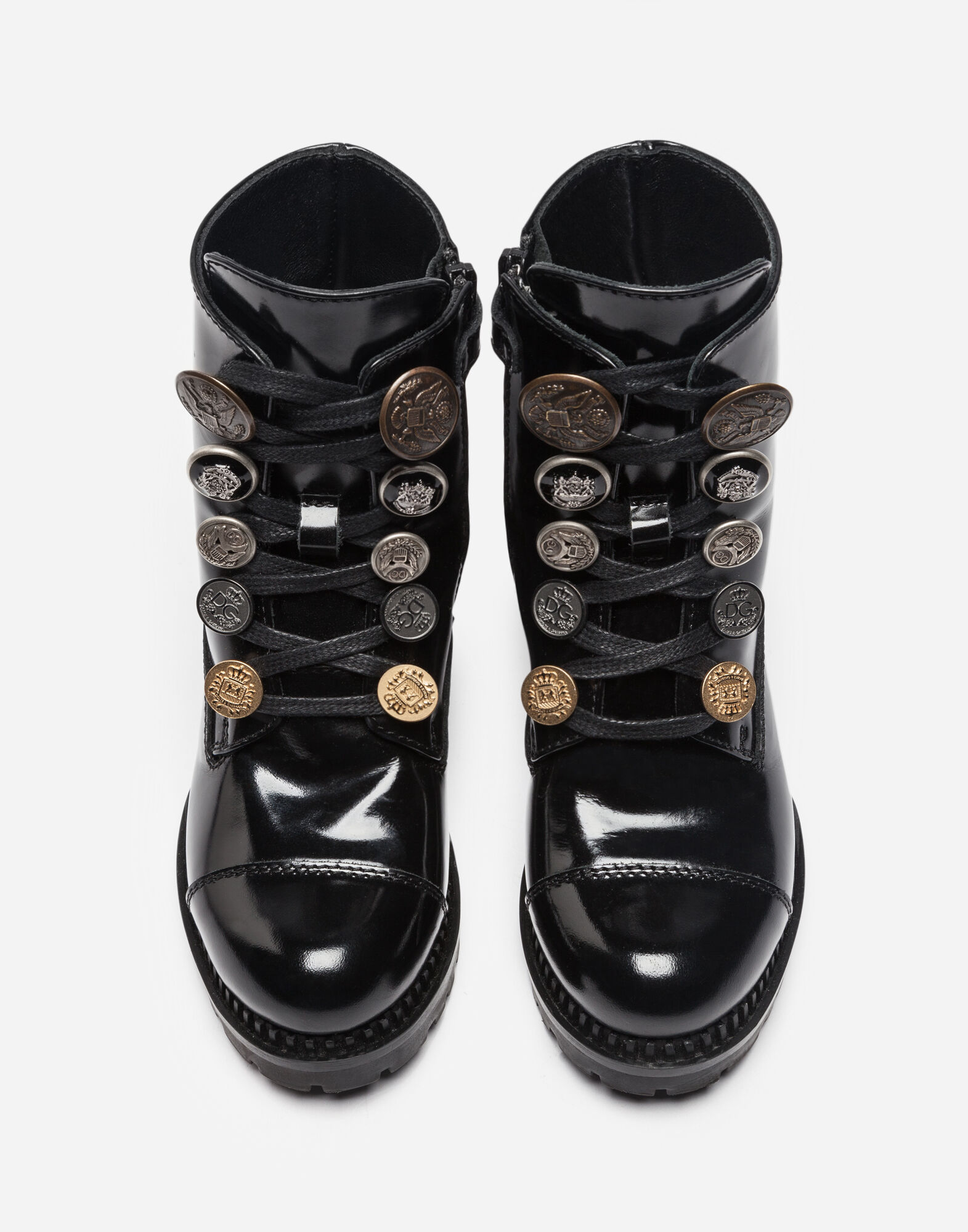 LEATHER BIKER BOOTS WITH DECORATIVE BUTTONS