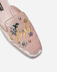 PRINTED BROCADE SLIPPERS WITH BEJEWELED BUCKLE