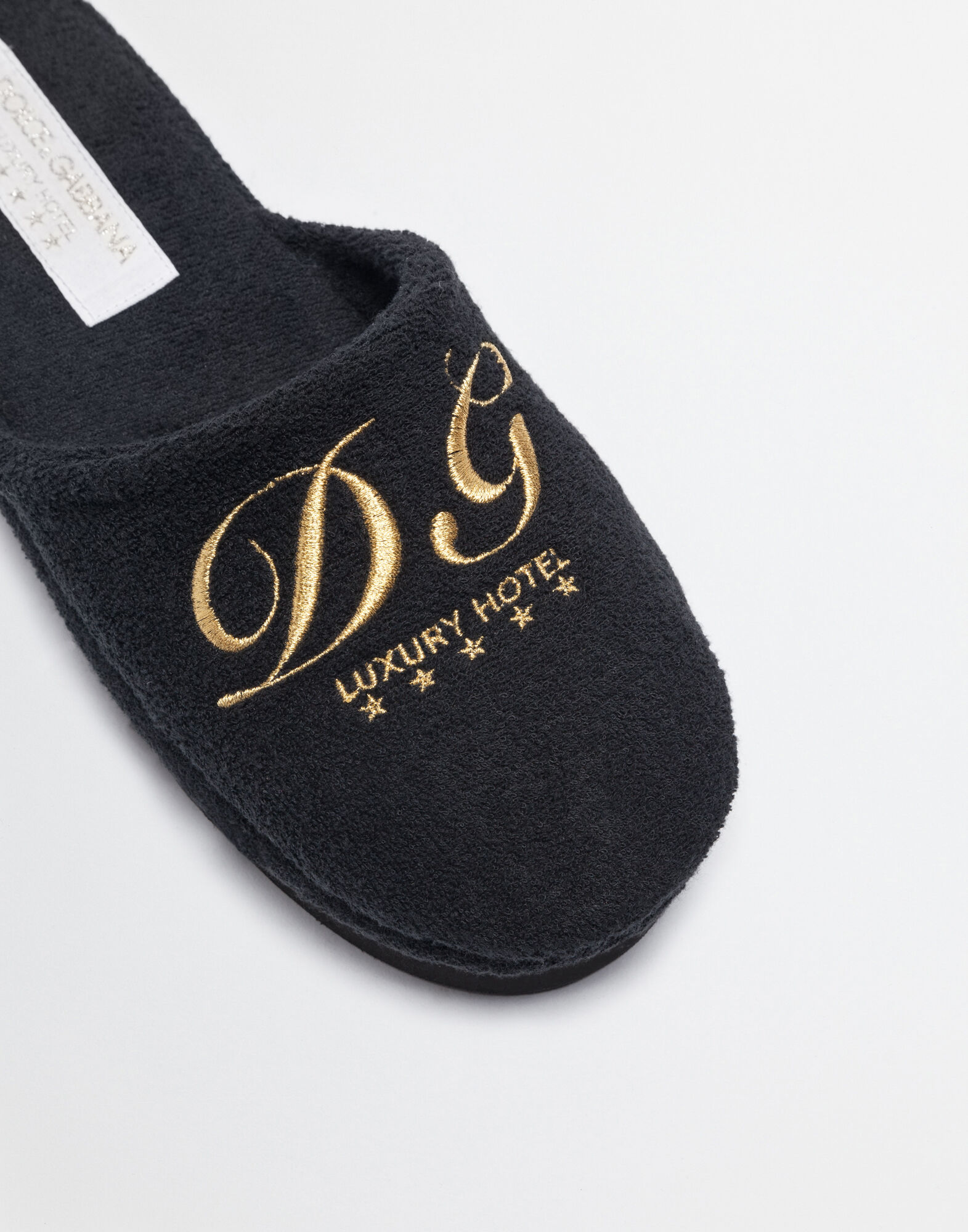 TERRY CLOTH SLIPPERS WITH EMBROIDERY