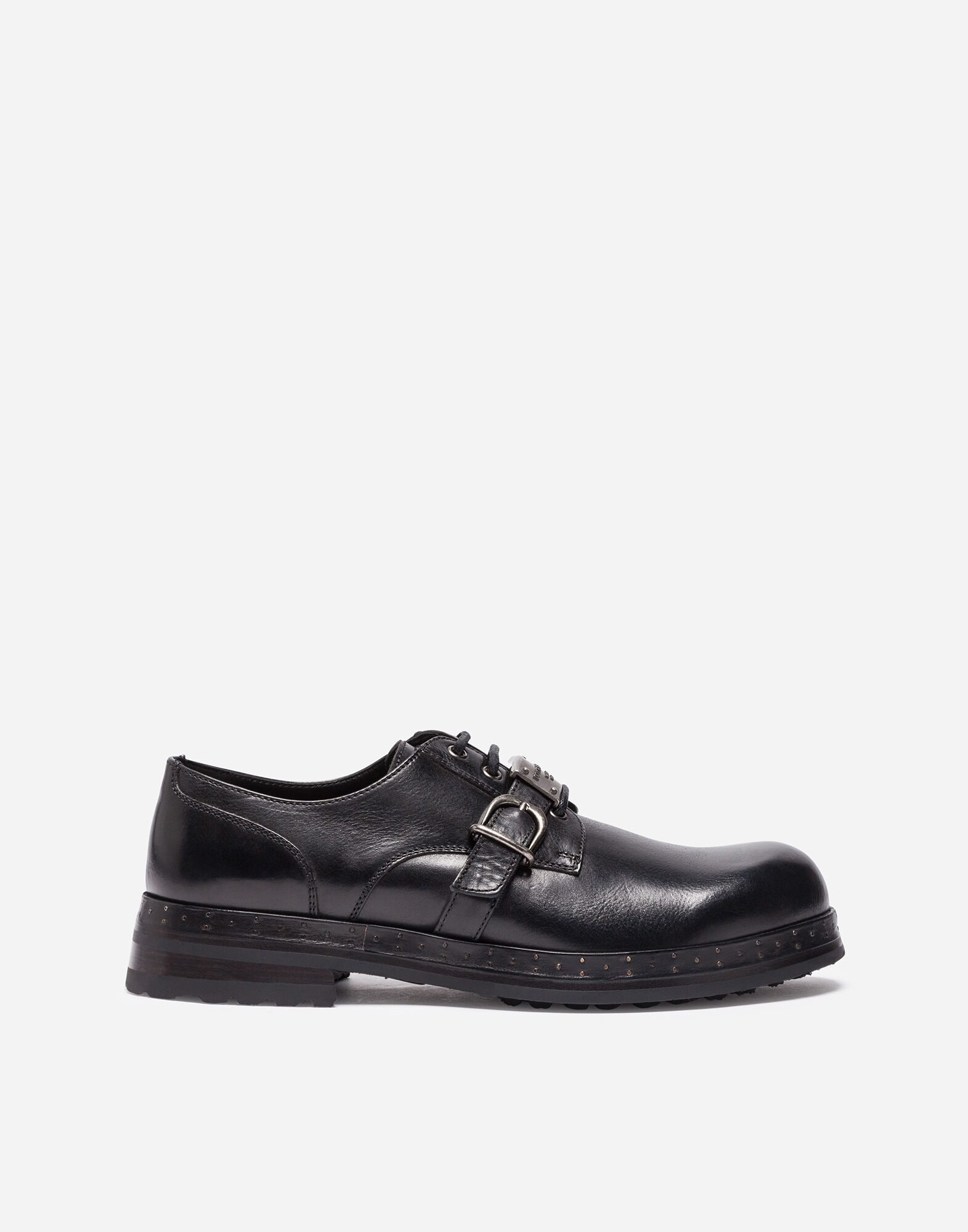 LEATHER LACE-UP SHOES WITH LOGO DETAIL