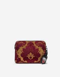 LEATHER AND BROCADE POUCH WITH APPLIQUÉS