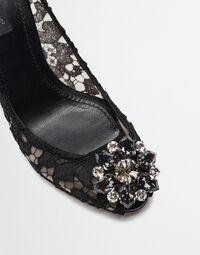 TAORMINA LACE OPEN TOE COURT SHOES WITH EMBROIDERY