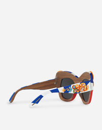 SQUARE SUNGLASSES IN HAND-PAINTED WOOD